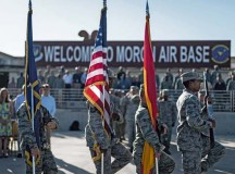 Photo by Airman 1st Class Jordan CastelanHonor guardsmen assigned to the 496th Air Base Squadron perform during a change of command ceremony that was held recently at Moron Air Base, Spain. Moron Air Base is a geographically separated unit falling under the  86th Operations Group, which operates and maintains an airfield that supports C-130, KC-10 and KC-135 variants alongside Navy and Marine operated aircraft. The airfield is also operated in cooperation with the Spanish air force and their fighter aircraft.