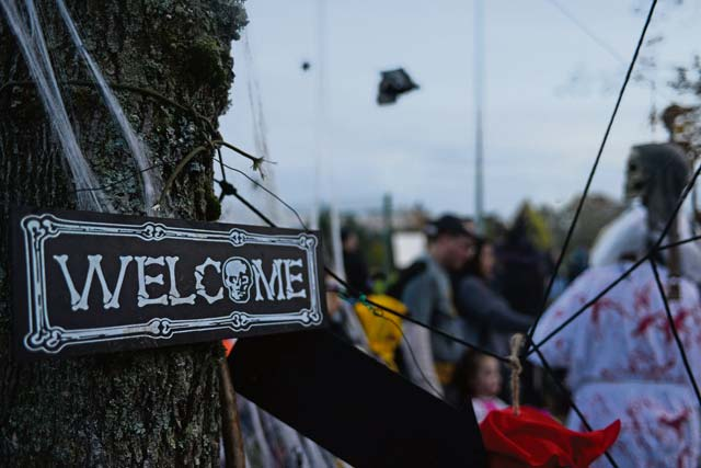 Decorations hang during Trunk-or-Treat Oct. 31 on  Ramstein. Trick-or-treaters of all ages attended this year's event.