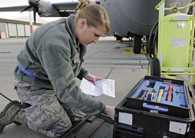 Airman 1st Class Caitlin Schaefer, 86th Aircraft Maintenance Squadron crew chief, checks her tools before a preflight inspection on a C-130J Super Hercules Feb. 25. Each Airman inspects their tools before use to check for damage to ensure proper maintenance is being utilized.