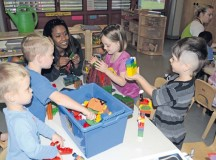 Pre-school children play with toys and games during activity time at the Wetzel Child Development Center in Baumholder. The center offers free child care for in-processing Soldiers and civilians.