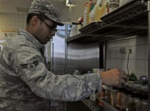 Airman 1st Class Christopher Blount, 86th Medical Group public health technician, inspects spices Oct. 1 at the dining facility on Ramstein to ensure they are properly stored. Members of the food safety and sanitation office help ensure military members and their families are eating properly made food in clean and safe facilities.