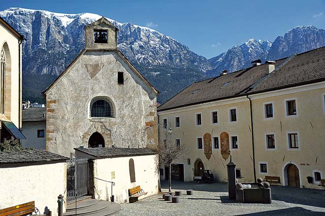 A seemingly typical Italian piazza backed by the Dolomites in Fiè allo Sciliar.
