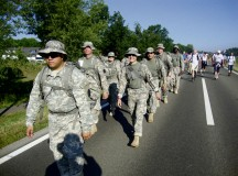 Photo by 1st Sgt. Michael EldredA combined team from Landstuhl Regional Medical Center and U.S. Army Public Health Command Region-Europe march alongside approximately 40,000 marchers participating in the second day of the International Four Days Marches Nijmegen in Holland.