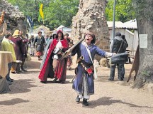Courtesy photosParticipants walk into the castle Moschellandsburg Saturday and Sunday for the medieval market.