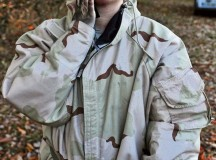 Photo by Staff Sgt. Alexander BurnettStaff Sgt. Crystal S. Newman, the enlisted strength management NCO for the 21st Theater Sustainment Command personnel office, applies coal dust to her face after going through the gas chamber Oct. 31 at Breitenwald Range.