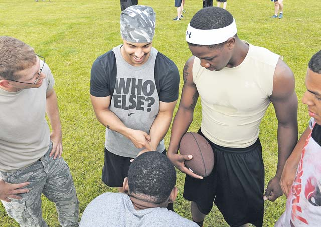 Photo by Airman 1st Class Michael StuartPeople gather to play football during Resiliency Day June 19 on Ramstein. The day allowed the members of the 86th Airlift Wing to get out and meet new people as well as build teams and working relationships.