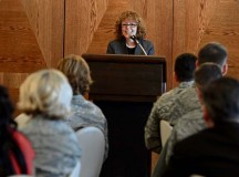 Dr. Dell W. McMullen, Kaiserslautern school district superintendent, speaks to Airmen during the KMC Women's History Month luncheon Monday on Ramstein. The theme of the luncheon was celebrating women in science, technology, engineering and mathematics.