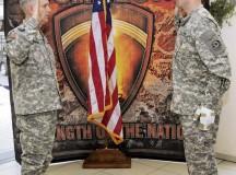 Photo by Phil A. JonesLt. Gen. Donald M. Campbell Jr., commanding general of U.S. Army Europe, re-enlists Staff Sgt. Tyronne Jones in a Feb. 19 ceremony at Landstuhl Regional Medical Center.