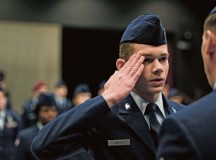 Brett Smith, Ramstein High School Junior Reserve Officers' Training Corps flight commander, renders a salute during a uniform inspection Nov. 27 on Ramstein. The mission of the Air Force JROTC program is to develop citizens of character dedicated to serving their nation and community.