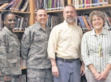 Photo by Pat KieblerRepresenting the parents, students and teachers at Ramstein Middle School for school year 2014-15 are the newly elected members of the executive board: (from left) Senior Master Sgt. Brandi Jones (first vice president), Master Sgt. James Barrus (president), Donald Seltzer (parliamentarian) and Janet Priddy (treasurer). Not pictured are Lorraine Gonzales (second vice president) and Laura McGann (secretary). If you are looking to volunteer in your child's school — or want to volunteer in the community because you don't have children — consider joining the RMS PTSA. Volunteer positions of all kinds are available. For more information, email ptsa.rms@gmail.com.