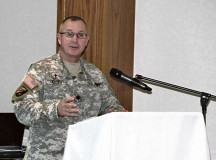 Chaplain (Lt. Col.) Stanley Allen, U.S. Army NATO Brigade chaplain, speaks about the importance of spiritual fitness as a key component of the overall Comprehensive Soldier Fitness plan during a breakfast gathering at the Sembach Community Activity Center. Service members and civilians from Sembach tenant units attended the event.
