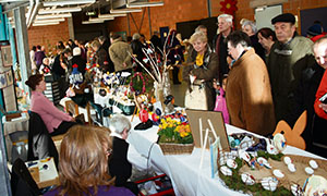 Visitors check out Easter decorations by hobby artists at the Siegelbach Easter egg market Saturday and Sunday.