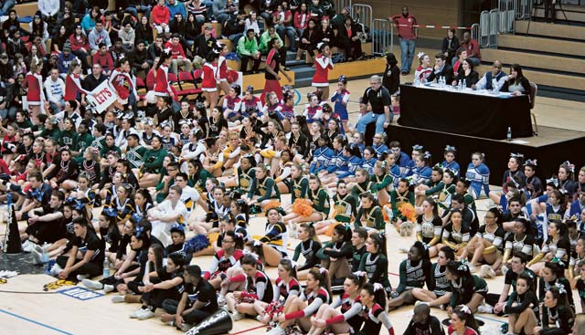 More than 15 teams from throughout Department of Defense Dependents Schools-Europe fill the Wiesbaden Fitness Center to watch and compete in the 2014  Cheer Competition Feb. 22  in Wiesbaden. Each team performed a 2 1/2-minute routine to determine the best squad in division I, II and III.