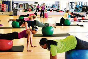 A group of women take a Pilates class Monday at the Ramstein Southside Fitness Center. Pilates focuses on breathing and putting the body back into its natural form of alignment by a set of 34 movements used to work the powerhouse, or core, of your body along with other major muscle groups.