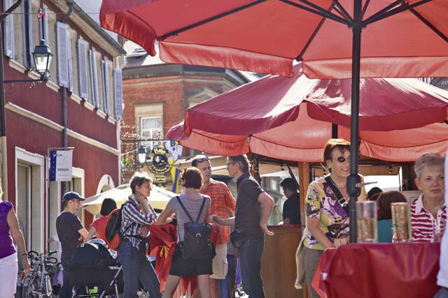 Caterers serve food specialties and vintners offer their wines during the old town fest Thursday to June 1 in Freinsheim.