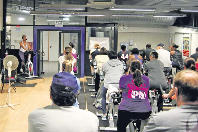 Courtesy photo Participants of an indoor cycling class follow the instructor's lead as she guides them on the proper form of cycling on Ramstein. Participation is based on a walk-in bases and is available for all age groups. The southside fitness center hosts an indoor cycling class everyday for all Department of Defense ID cardholders.