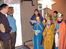 Courtesy photoChildren disguised as the three holy kings walk from door to door Dec. 27 to Jan. 6 asking for donations to support children's projects.