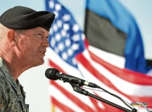 Photo by Sgt. Daniel ColeMaj. Gen. Richard C. Longo, deputy commander of U.S. Army Europe, speaks to U.S. and Estonian soldiers during a ceremony marking the start of land forces exercises. The general retired Tuesday after serving the Army for 34 years.