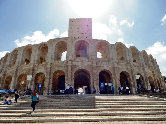 The Arles arena has remained intact over the years and is used for bullfighting events.