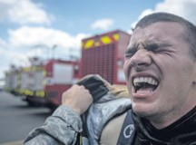 Photo by Airman 1st Class Jordan CastelanAirman Alexander Garratt, 86th Civil Engineer Squadron firefighter, cries out in exhaustion. Competitors had to put on full protective fire gear, sprint to the top of a two-story tower and pull a fire hose weighing 45 pounds through the window, then sprint down to the bottom floor, hit a 165-pound steel beam with a nine-pound hammer until it moved forward five feet, negotiate through a 100-foot serpentine course, drag a hose 75 feet and knock down a target with a stream of water. To end the course, firefighters had to drag a 175-pound dummy 100 feet to the finish line.