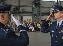 Photo by Airman 1st Class Jordan CastelanLt. Gen. Darryl Roberson, 3rd Air Force commander, returns a salute to Lt. Col. Mike Mench, U.S. Air Forces in Europe and Air Forces Africa band commander, during the 3rd Air Force assumption of command ceremony June 11.