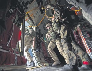 Paratroopers jump out of a U.S. Air Force C-130J Super Hercules assigned to the 37th Airlift Squadron Sept. 20 in Eindhoven, Netherlands.