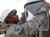 Airman 1st Class Rashad Spann, 786th Civil Engineer Squadron electrical technician, repairs a street light Feb. 20 on Ramstein. Spann is one of many first-term Airmen who use the core values during their day-to-day tasks so they can excel in their careers.