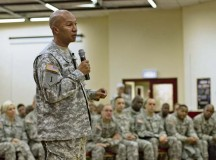 Command Sgt. Maj. Luther Thomas Jr., command sergeant major of the  Army Reserve, addresses 7th Civil Support Command Soldiers at the Kaiserslautern Community Activities Center Dec. 6.