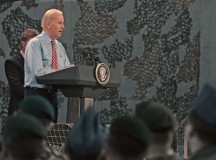 U.S. Vice President Joe Biden speaks to a group of U.S. and Romanian service members May 20 in Bucharest, Romania. During his speech Biden touched on many topics including Ukraine, building stronger partnerships among NATO Allies and thanking Romania for its constant support.
