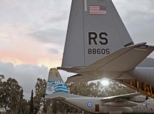 A C-130J Super Hercules sits in a parking spot in front of a Greek C-130H Hercules during Stolen Cerberus. The mission provided the U.S. and Hellenic air forces with a unique opportunity to learn  how each service performs airlift operations, improving the joint capabilities of both nations.