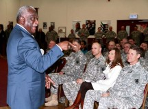 Retired Command Sgt. Maj. Leon Caffie engages the crowd assembled at the 7th Civil Support Command's African-American Heritage/Black History Month event Feb. 8 at the Kaiserslautern Community Activities Center on Daenner Kaserne. Caffie, who was the guest speaker at the event, spent 39 years in the Army and Army Reserve, retiring as command sergeant major of the Army Reserve in 2010.