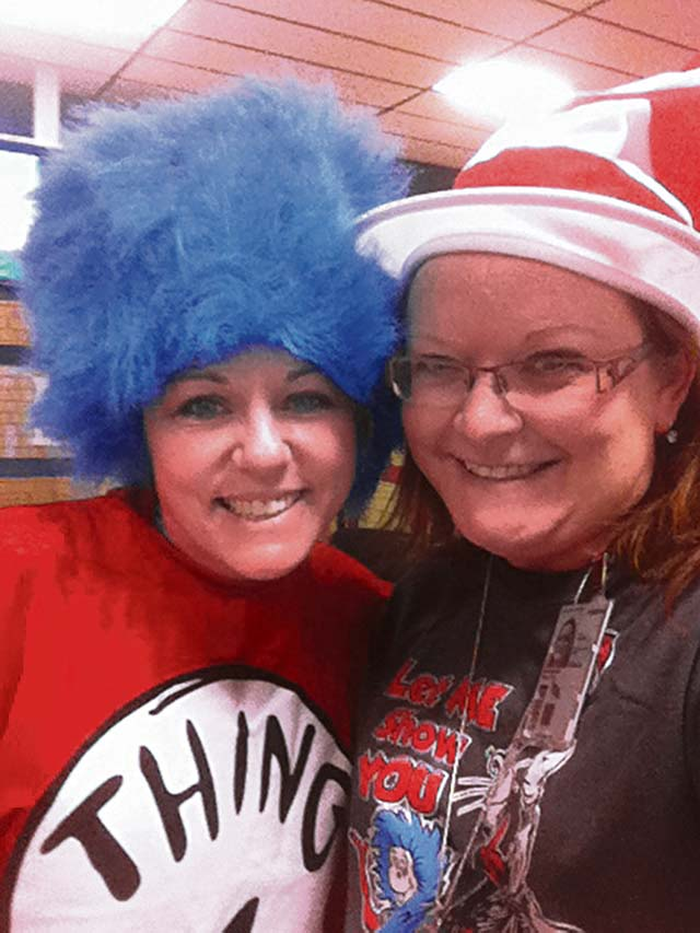 Courtesy photoVogelweh Elementary School teachers celebrate National Read Across America Day by dressing up as Dr. Seuss characters Thing 1 and Thing 2.