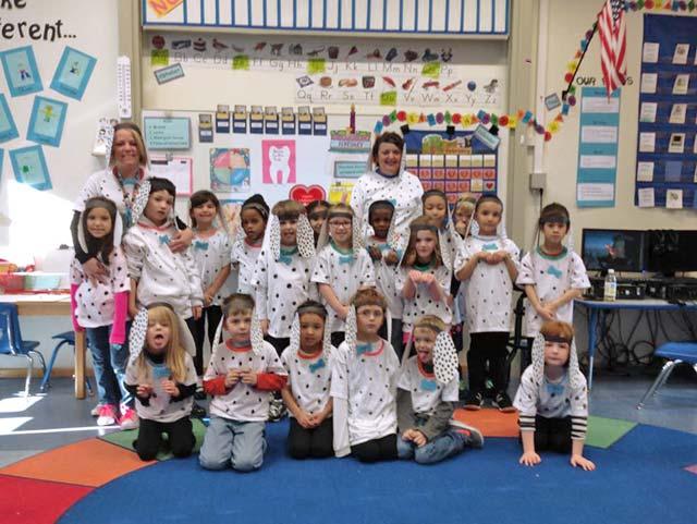 "Courtesy photo100 days of schoolVogelweh Elementary School kindergarten students celebrate 100 days of school as the ""101 Dalmatians."""
