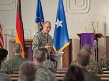Photo by Senior Airman Damon KasbergChaplain (Col.) Dwayne R. Peoples, U.S. Air Forces in Europe command chaplain, speaks during the National Prayer Service March 18 at Ramstein. Peoples focused his message on the importance of spiritual maintenance and how it impacts Airmen.