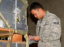 Senior Airman Christian Afaisen, 86th Munitions Squadron munitions inspector, double checks assets for correct labeling and signs of corrosion as a part of the semiannual 100 percent inspection March 16 on Ramstein.