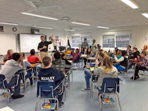 Photo by Didem ParkerAvid NewsKaiserslautern Middle School AVID students enjoy a presentation Feb. 28 by David Sear, Toastmaster Chapter of Kaiserslautern, as part of their AVID curriculum, where they get trained on public speaking.