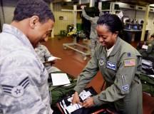 Lt. Col. Marilyn Thomas, 86th Aeromedical Evacuation Squadron clinical nurse specialist, packs an aeromedical evacuation kit Jan. 24 on  Ramstein.