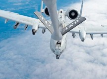 A KC-135 Stratotanker from the 100th Air Refueling Wing refuels a 354th Expeditionary Fighter Squadron A-10 Thunderbolt II March 26 above Ramstein. The A-10s deployed as part of a theater security package in support of Operation Atlantic Resolve. The TSP deployments are possible with the strategic access provided by infrastructure, support and relationships with local communities at U.S. and host nation installations. Service members from Ramstein, Spangdahlem Air Base, and Royal Air Force Mildenhall, England, were all involved in the aerial refueling training. Aircrew from Mildenhall stayed multiple days at Ramstein to operate from the Air Force's premier power projection platform, giving the A-10s deployed to Spangdahlem quick access to aerial refueling capabilities.