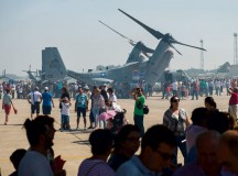 Attendees of an open house gather around a U.S. Marine MV-22B Osprey, May 31 at Morón Air Base, Spain. The two-day event was held to celebrate Morón's 75th anniversary. Visitors had the opportunity to see static displays from both countries' armed forces, such as the Eurofighter Typhoon, P-3 Orion and MV-22B Osprey.