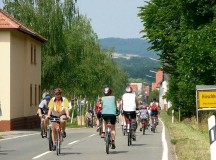 Bicyclists enjoy the car-free route driving through Hirschhorn in the Lauter Valley on Sunday.