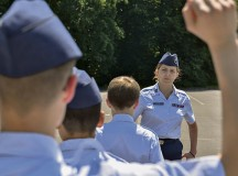 Abigail Murray, Civil Air Patrol cadet, answers another cadet's question in a drill and ceremony test during the CAP's 2015 European Summer Camp June 24 on Ramstein.