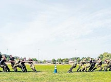 Royal Air Force Air Training Corps cadets participate in tug-of-war after an obstacle course Aug. 10 on Vogelweh. After the tug-of-war against each other, they defeated the Kisling NCO Academy instructors in the final round.