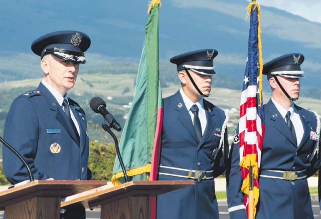 Lt. Gen. Timothy Ray, commander of the 3rd Air Force and 17th Expeditionary Air Force, speaks to members of the 65th Air Base Group during a redesignation ceremony Aug. 14 on Lajes Field, Azores, Portugal. With this redesignation ceremony, the 65th ABG is now aligned under the 86th Airlift Wing and remains positioned to provide agile combat support and services to aircraft and aircrew.