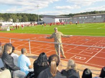 Courtesy photos Brig. Gen. Arlan DeBlieck, commanding general of the Army Reserve's 7th Civil Support Command, speaks to students, parents and teachers Sept. 10 at Kaiserslautern High School's open house.