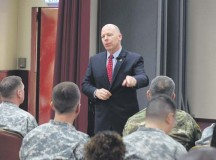 Courtesy photo James Balocki, command executive officer for the U.S. Army Reserve, speaks with Soldiers and civilians from the 7th Mission Support Command during a town hall Oct. 22 on Daenner Kaserne. He visited with multiple civilian and military leaders during his weeklong trip.