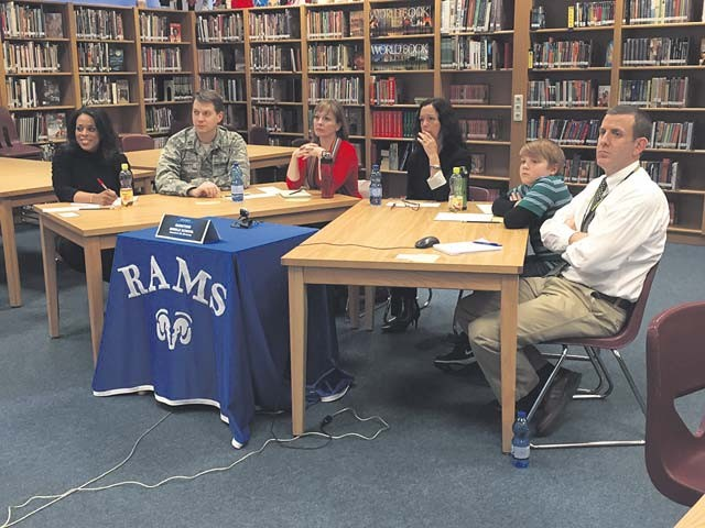 Courtesy photo Ramstein Middle School representatives participated in a Virtual Town Hall Meeting which included (from left to right) teacher Sequinn Lee; parents Chaplain (Capt.) Matthew Streett, Jennifer Cline and Suzanne Villella; student Austin Brindowski; and Principal Josh Adams.