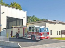 A fire truck is parked outside Fire Station 2's newly-renovated stall Sept. 22 on Ramstein. Station 2 provides the quickest response times to locations such as base housing, the Kaiserslautern Military Community Center and high-risk work facilities on Ramstein.