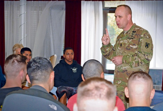 Command Sgt. Maj. Rodney Rhoades, 21st Theater Sustainment Command senior enlisted leader, addresses NCOs participating in the Soldier 360 course that was offered Nov. 9 to 13 at Armstrong's Club on Vogelweh. The Soldier 360 course aimed at empowering junior leaders with resiliency tools, covering topics including stress management, sleep improvement and family communications.