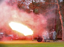 Soldiers from the 21st Special Troops Battalion fire a cannon during a Veterans Day observance and retreat ceremony Nov. 10 on Panzer Kaserne. The 21st Theater Sustainment Command held the ceremony to honor all who have served or are serving in defense of the U.S. and it's allies.