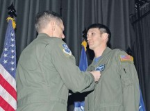 Capt. Kenneth Jubb, 37th Airlift Squadron flight commander, receives the Air Medal pinned by Lt. Gen. Timothy Ray, 3rd Air Force and 17th Expeditionary Air Force commander, Feb. 19 on Ramstein. Jubb received the prestigious award for demonstrating exemplary airmanship and professionalism to safely recover an aircraft during an emergency ramp-open landing.